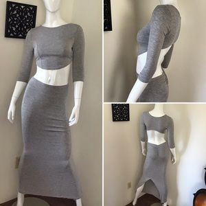 Heather Gray 2-Piece Bodycon Skirt Set